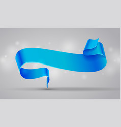 Blue curved ribbon or banner vector