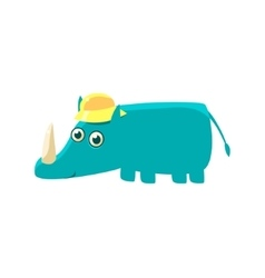 Blue Rhino In A Cap vector image