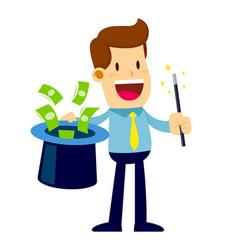 businessman do magic trick with magic wand money vector image
