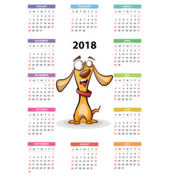 calendar 2018 year cartoon funny cuty dog vector image
