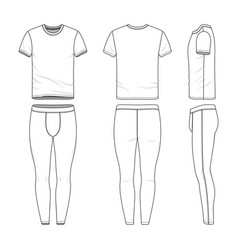 Clothing set of t-shirt and training tights vector