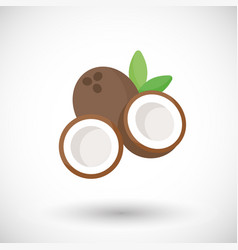 coconut flat icon vector image
