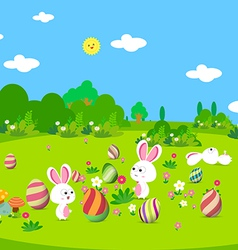 Colorful Easter greeting card with eggs and bunny vector