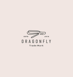 continuous line dragonfly logo icon outline vector image