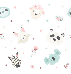 Cute seamless pattern with animals for prints vector