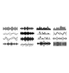 different sound waves black vector image