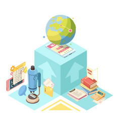 Distance education isometric design vector