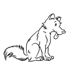 dog cartoon - line drawn vector image