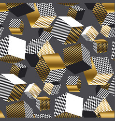 Dold and black 3d geometric cubes pattern vector