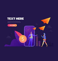 Donation online concept mobile phone with a coin vector