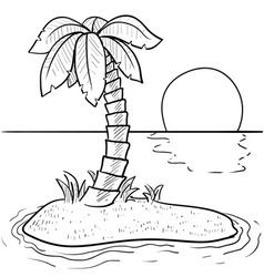 doodle palm tree island vector image