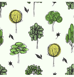 drawing forest background vector image