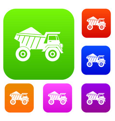 Dump truck with sand set collection vector