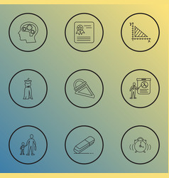 Education icons line style set with prom dress vector