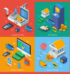 electronic banking isometric concept vector image