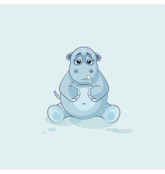 Emoji character cartoon Hippopotamus sad and vector