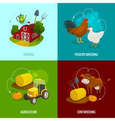 Farm square concepts cartoon farming banners with vector