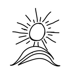 figure paint sun with mountain icon vector image vector image