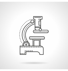 Flat black line microscope icon vector