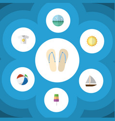 Flat icon season set of clothes sphere beach vector