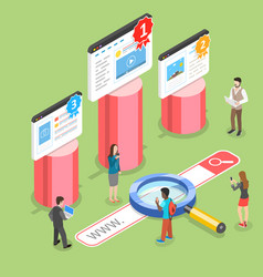 flat isometric concept of seo ranking vector image