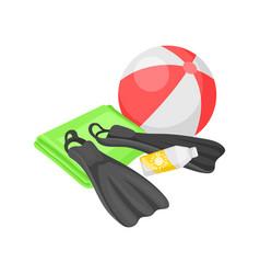 Flat of beach ball flippers vector