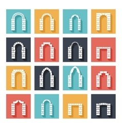 Flat silhouette icons arches with shadow vector