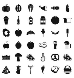 food icons set simle style vector image