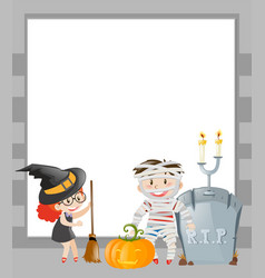 Frame template with halloween theme vector
