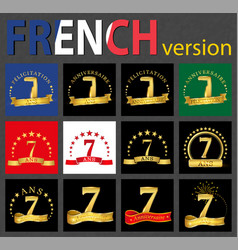 french set of number 7 templates vector image