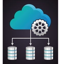 Gear cloud data center web hosting graphic vector