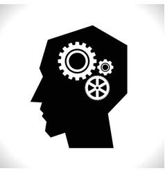 Gear in head pictograph vector