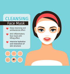 Girl with cosmetic face mask vector