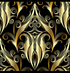 Gold 3d damask seamless pattern ornamental vector