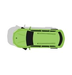 Green Car Top View Flat Design vector image
