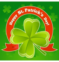 Greeting card patricks day with clover vector