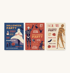 halloween party poster templates pack holiday vector image