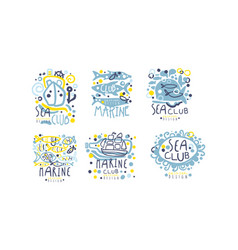 hand drawn marine labels and logos original design vector image