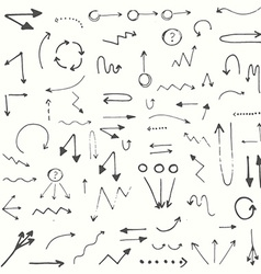 Hand drawn simple arrows set vector image