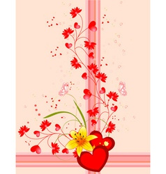 hearts stripes and butterflies vector image