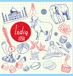 Indian symbols pen drawn doodles collection vector