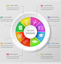Infographic design template with college icons vector