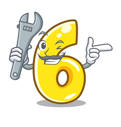 mechanic number six isolated on the mascot vector image