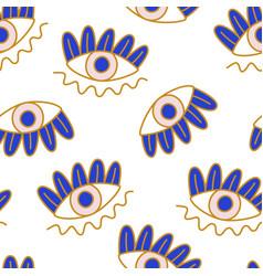 Mediterranean geometric evil eyes seamless pattern vector