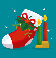 merry christmas boot with ribbon bow and candles vector image