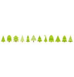 Merry christmas fir tree line icon set cute vector