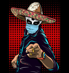 Mexican man in hat and medical mask day the vector