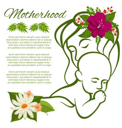 mom and baline silhouette and flowers vector image