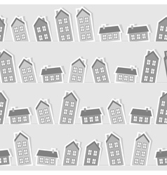 Monochrome paper town seamless pattern vector image