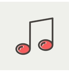 Music note thin line icon vector image